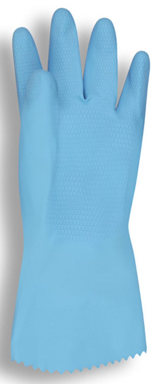4260: Blue Flock Lined Latex Canner Gloves - 12 Pack
