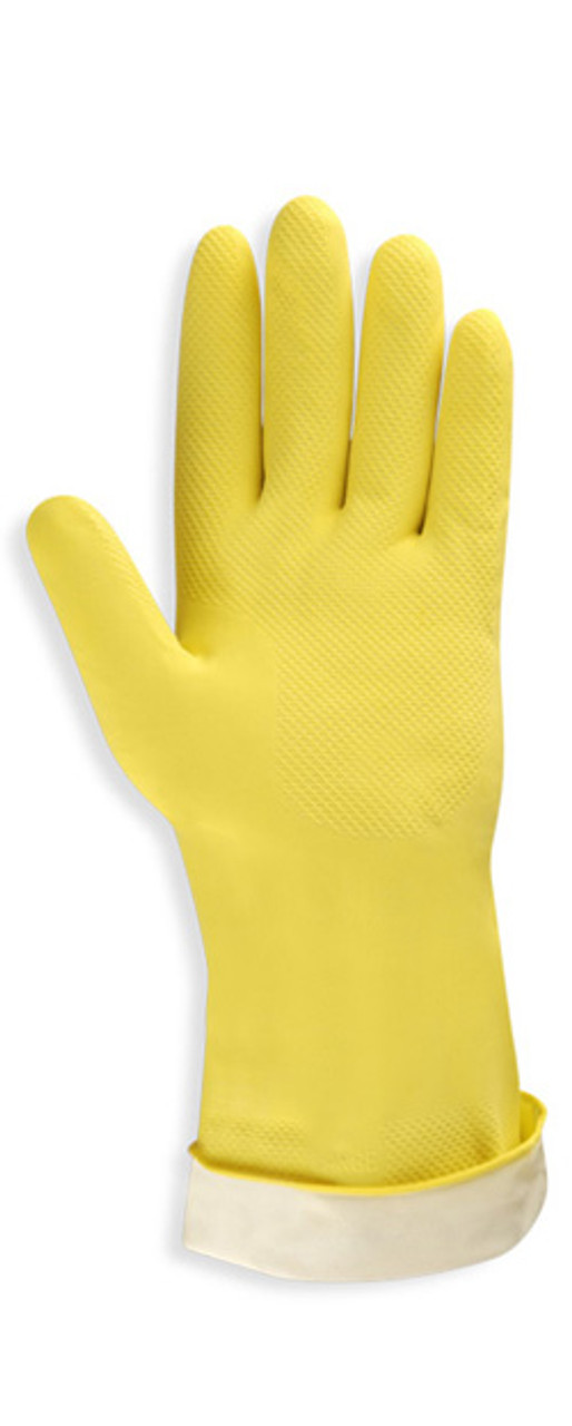 4250R: Yellow Flock Lined Latex Canner Gloves - 12 Pack