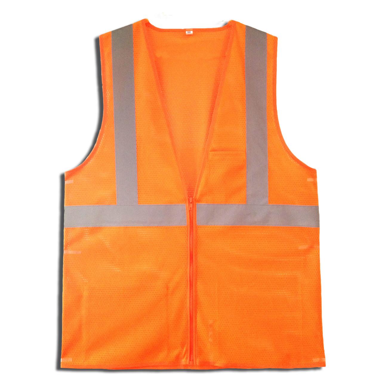 VZ260P: Type R Class 2 Zipper Closure Orange Safety Vest