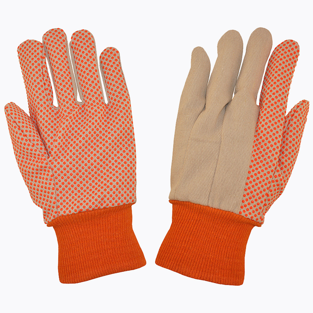 2670: 10 Oz Canvas/Orange PVC Dots Gloves - 12 Pack