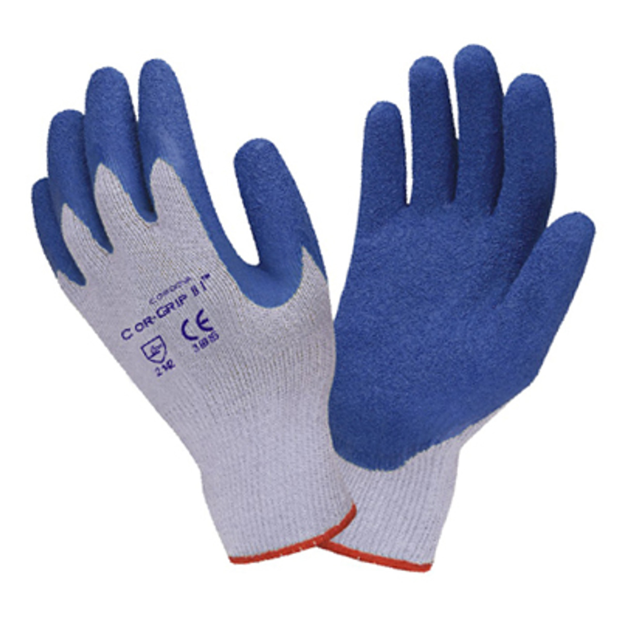 3898: Economy Gray Shell/Blue Crinkle Latex Coating String Knit Gloves - 12 Pack