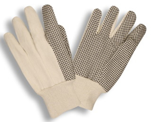 2608: Canvas/Black PVC Dots Gloves - 12 Pack
