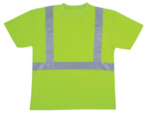 V411: Class II Hi Vis Lime Green Mesh T-Shirt Round Neck