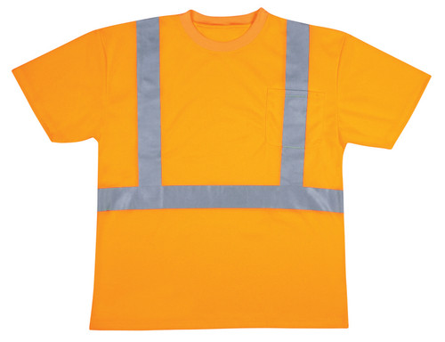 V410: Class II Hi Vis Orange Mesh T-Shirt, Round Neck