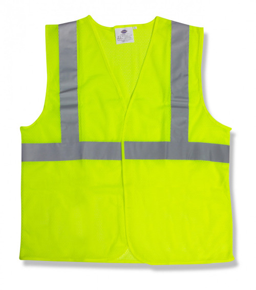 V211P: Type R Class II Velcro Closure Lime Mesh Safety Vest