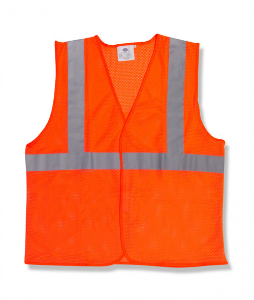 V210P: Type R Class II Velcro Closure Orange Mesh Safety Vest