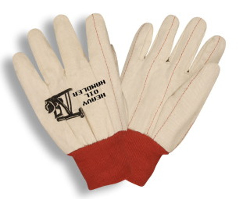 24101: Double Palm/ Red Knit Wrist Gloves - 12 Pack