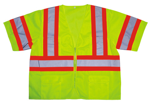 V3201: Cor-Brite Class III Lime Mesh Safety Vest with Reflecting Tape on Contrasting Background Tape