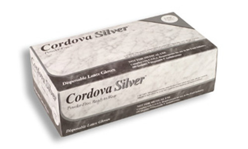 4015: Cordova Silver Industrial Grade/ Powder Free Latex Gloves - 100 Count Box