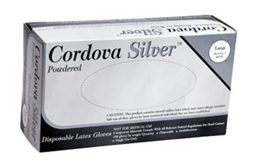 4020: Cordova Silver Industrial Grade/ Powdered Latex Gloves - 100 Count Box