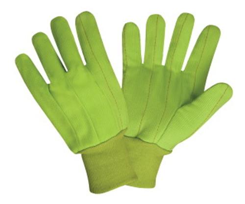 2850CD: Hi-Vis Double Palm/Corded Cotton Gloves - 12 Pack