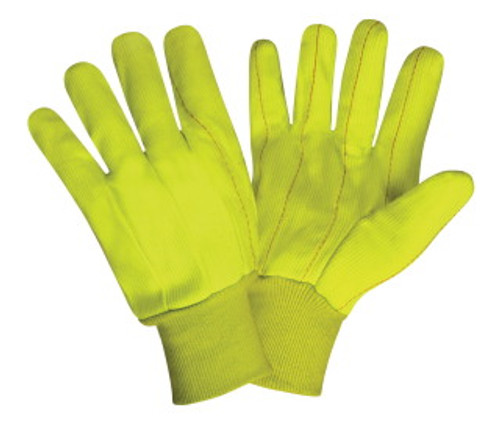 2820CD: Hi Vis Double Palm/Corded Poly-Cotton Gloves - 12 Pack