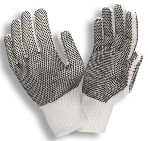 3850: Bleached/ PVC Dots on 2 Sides/String Knit Gloves - 12 Pack