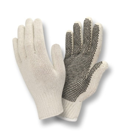 3805: Natural Color/ PVC Dots on 1 Side/String Knit Gloves - 12 Pack