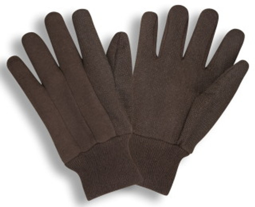 1510: Micro PVC Dotted Brown Jersey Gloves - 12 Pack