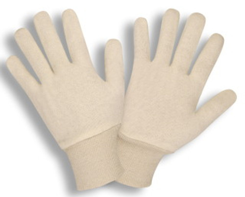 1300C: Two Piece Natural Color Jersey Gloves - 12 Pack