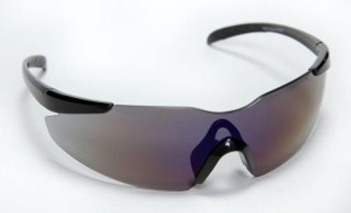 E01B60: Opticor Frameless, Blue Mirror Lens Safety Glasses - 12 Pack