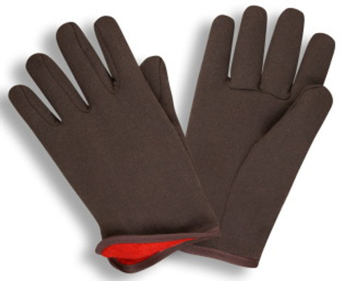 1600: Red Lined Brown Jersey Gloves - 12 Pack