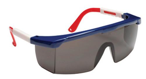EJNWR20S: Retriever Gray Lens, Red/White/Blue Frame Safety Glasses - 12 Pack