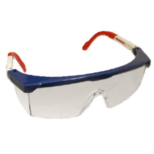 EMNWR10S: Retriever II Clear Lens, Red/White/Blue Frame Safety Glasses - 12 Pack