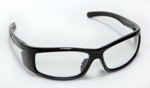 E02B10: Vendetta Clear Lens, Shiny Black Frame Safety Glasses - 12 Pack