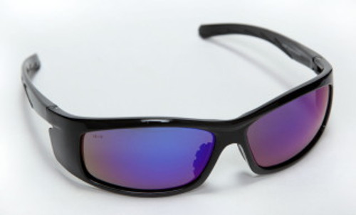 E02B65: Vendetta Fusion Blue Lens, Shiny Black Frame Safety Glasses - 12 Pack