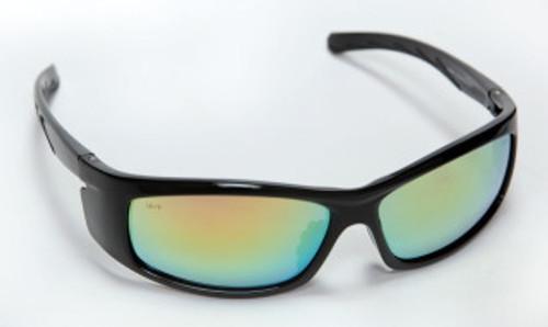 E02B95: Vendetta Fusion Orange Lens, Shiny Black Frame Safety Glasses - 12 Pack