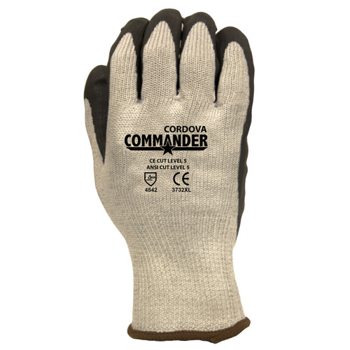 3732: Commander  10-Gauge, HPPE/Steel/Glass Fiber Shell, Black Foam Nitrile Palm Coated Gloves