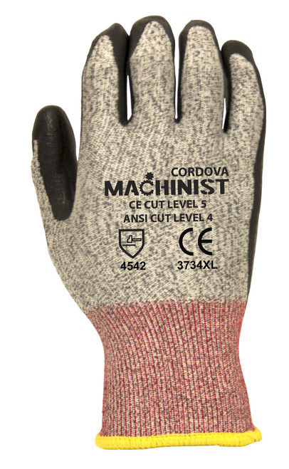 3734: Machinist 13-Gauage, Salt and Pepper HPPE/Glass Fiber Shell, Black Foam Nitrile Palm Coated Gloves