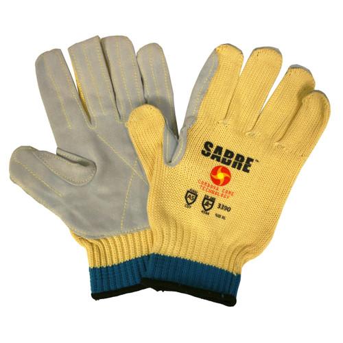 3390: Sabre 10-Gauge Machine Knit Split Leather Palm Gloves