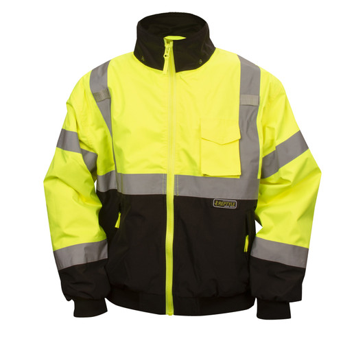 J201: Lime Class III Reptyle 2-in-1 Bomber Jacket Front