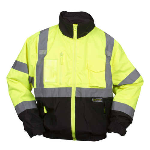 J301: Lime Class III Reptyle 3-in-1 Bomber Jacket Front