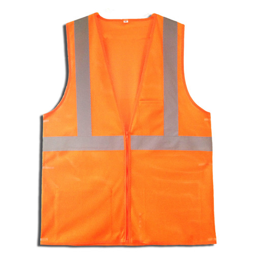 VZ260P: Type R Class 2 Zipper Closure Orange Safety Vest
