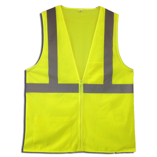 VZ261P: Type R Class 2 Zipper Closure Lime Safety Vest