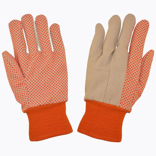 2670: 10 Oz Canvas/Orange PVC Dots Gloves - 12 Pack