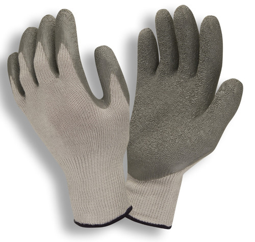3897: Economy Gray Shell/Gray Crinkle Latex Coating String Knit Gloves