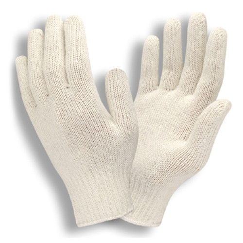 3400: Medium Weight, Natural Color Reversable String Knit Gloves - 12 Pack