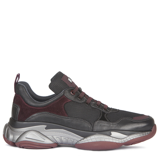 Men's Burgundy Suede Trim Sneakers GL 7216139 BLD