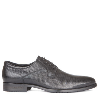 Men's Black Embossed Leather Derbies GN 7227019 BLX