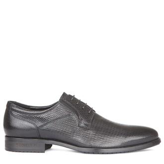 Men's Black Embossed Leather Derbies GN 7227019 BLX