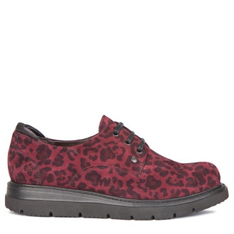 Women's Burgundy Leopard Print Suede Derbies GP 5217919 BDS