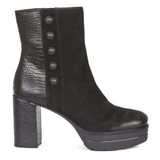 Women's Suede and Embossed Leather Black Ankle Boots GD 5358819 BLV