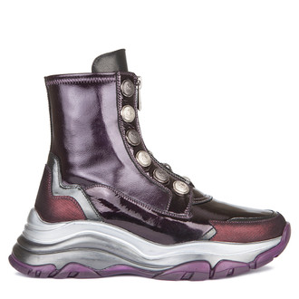 Women's High-Top Purple Leather Mercury Sneakers GS 5313139 VLP