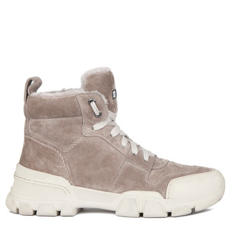 Women's Shearling-Lined Beige Suede Sneakers GD 5518819 GRS