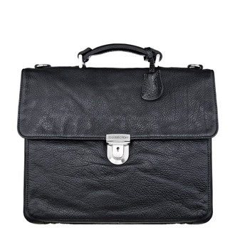 Textured Black Leather Briefcase YH 7440611 BLI