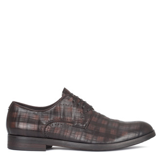 Men's Dark Brown Checkered Leather Derbies GB 7221010 DBA