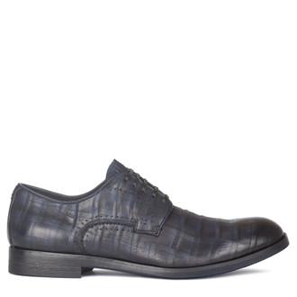 Men's Dark Blue Checkered Leather Derbies GB 7221010 NVA