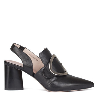 Women's Black Leather Slingback Courts GD 5171010 BLK