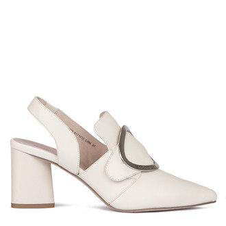 Women's Ivory Leather Slingback Courts GD 5171010 CRM