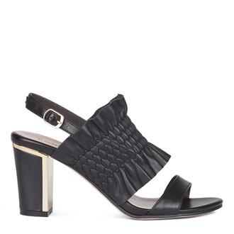 Women's Black Ruffled Leather Sandals GD 5182210 BLI